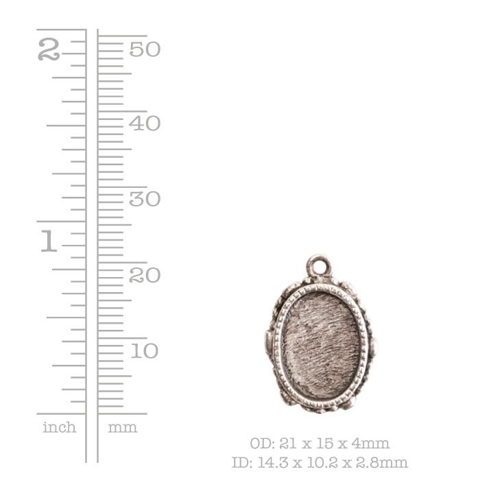 Ornate Mini Pendant Oval Single Loop Antique Copper