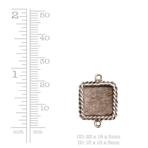 Ornate Mini Pendant Square Double Loop Antique Silver