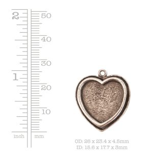 Traditional Pendant Heart<br>Antique Silver