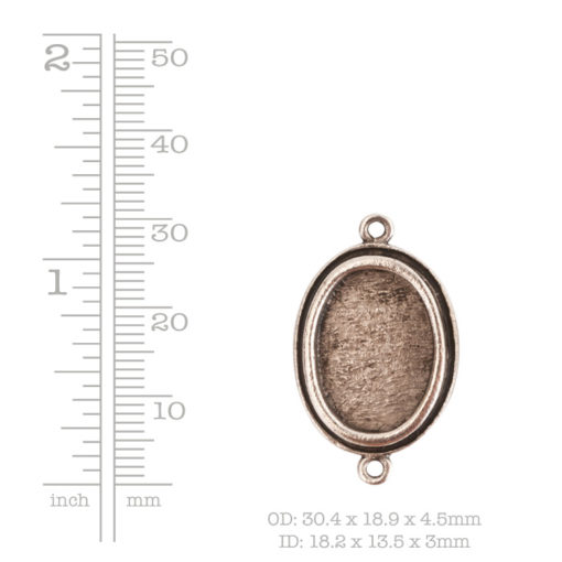 Traditional Pendant Oval Double LoopAntique Silver