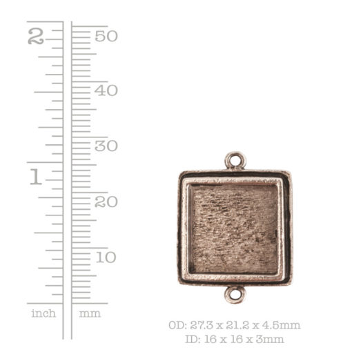Traditional Pendant Square Double LoopAntique Silver