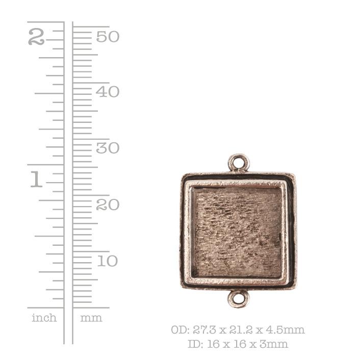 Traditional Pendant Square Double LoopAntique Copper