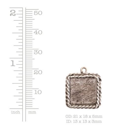 Ornate Mini Pendant Square Single Loop Sterling Silver Plate