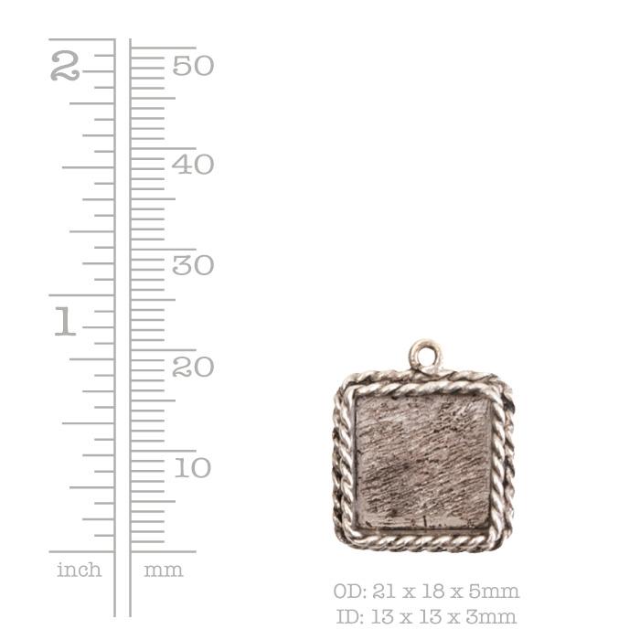 Ornate Mini Pendant Square Single Loop Antique Copper