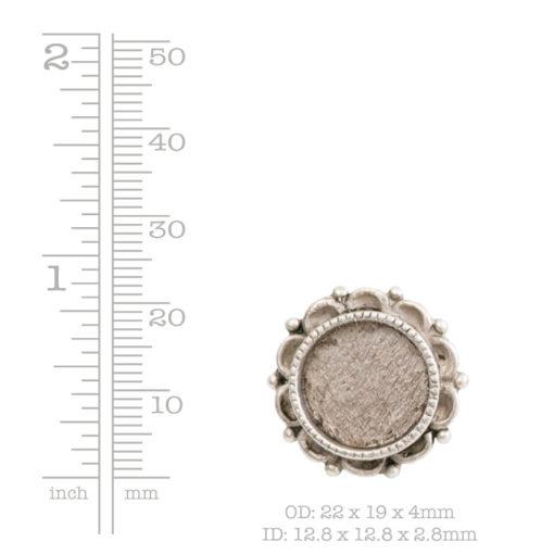 Screw Back Bezel Ornate Mini Circle Antique Slv