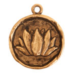 Charm Small Round LotusAntique Gold