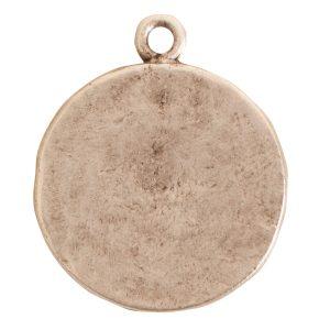 Charm Small Round LotusAntique Silver