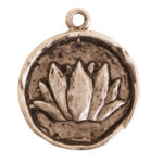 Charm Small Round LotusAntique Silver