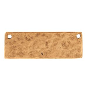 Hammered Flat Tag Grande Thin Double Loop<br>Antique Gold
