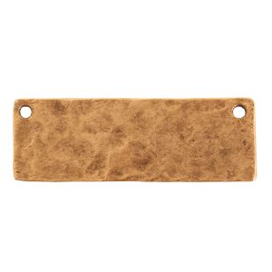 Hammered Flat Tag Grande Thin Double LoopAntique Gold