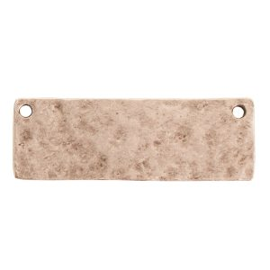 Hammered Flat Tag Grande Thin Double Loop<br>Antique Silver