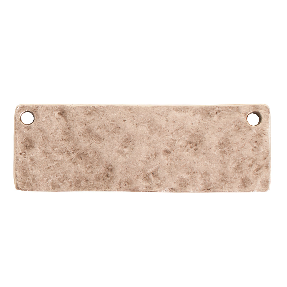 Hammered Flat Tag Grande Thin Double LoopAntique Silver