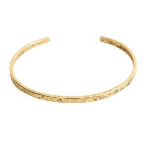 Cuff Bracelet Hammered ThinAntique Gold