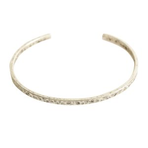 Cuff Bracelet Hammered ThinAntique Silver