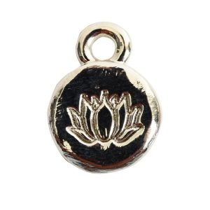 Charm Itsy Spiritual Lotus<br>Sterling Silver Plate