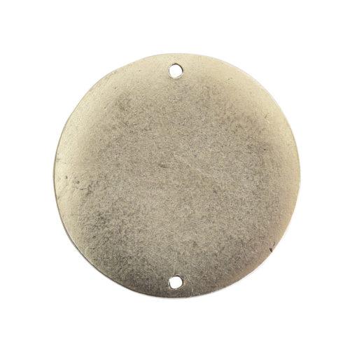 Flat Tag Grande Circle Double Loop Antique Silver