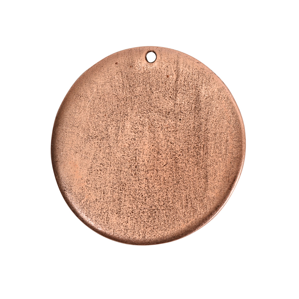 Flat Tag Grande Circle Single Loop Antique Copper