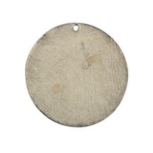 Flat Tag Grande Circle Single Loop Antique Silver