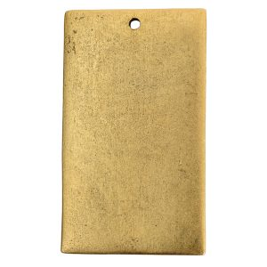 Flat Tag Grande Rectangle Single Loop Antique Gold