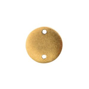 Flat Tag Mini Circle Double Loop Antique Gold