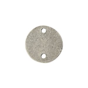 Flat Tag Mini Circle Double Loop Antique Silver