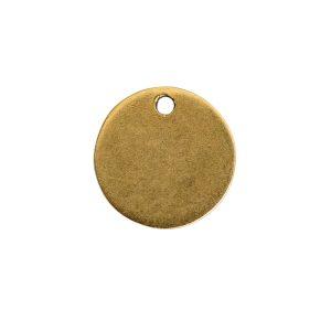 Flat Tag Mini Circle Single Loop Antique Gold