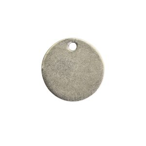 Flat Tag Mini Circle Single Loop Antique Silver