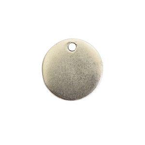 Flat Tag Mini Circle Single Loop <br>Antique Silver