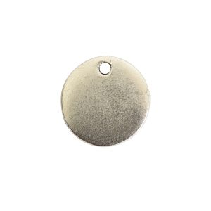 Flat Tag Mini Circle Single Loop Antique Silver
