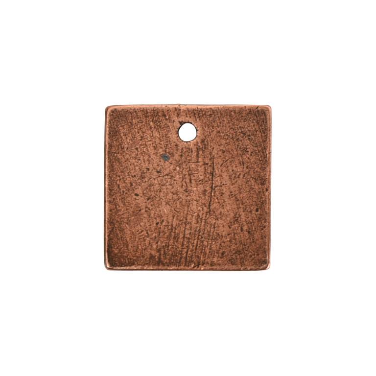 Flat Tag Mini Square Single Loop Antique Copper