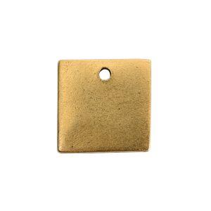 Flat Tag Mini Square Single Loop Antique Gold