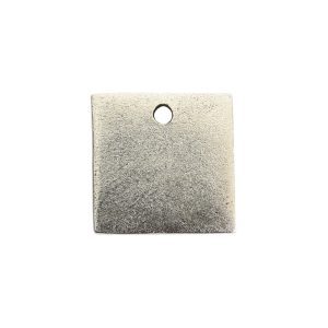 Flat Tag Mini Square Single Loop Antique Silver