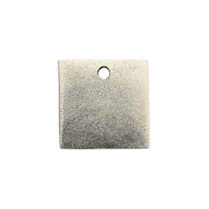 Flat Tag Mini Square Single Loop Antique Silver