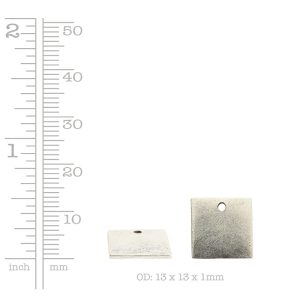 Flat Tag Mini Square Single Loop <br>Antique Silver