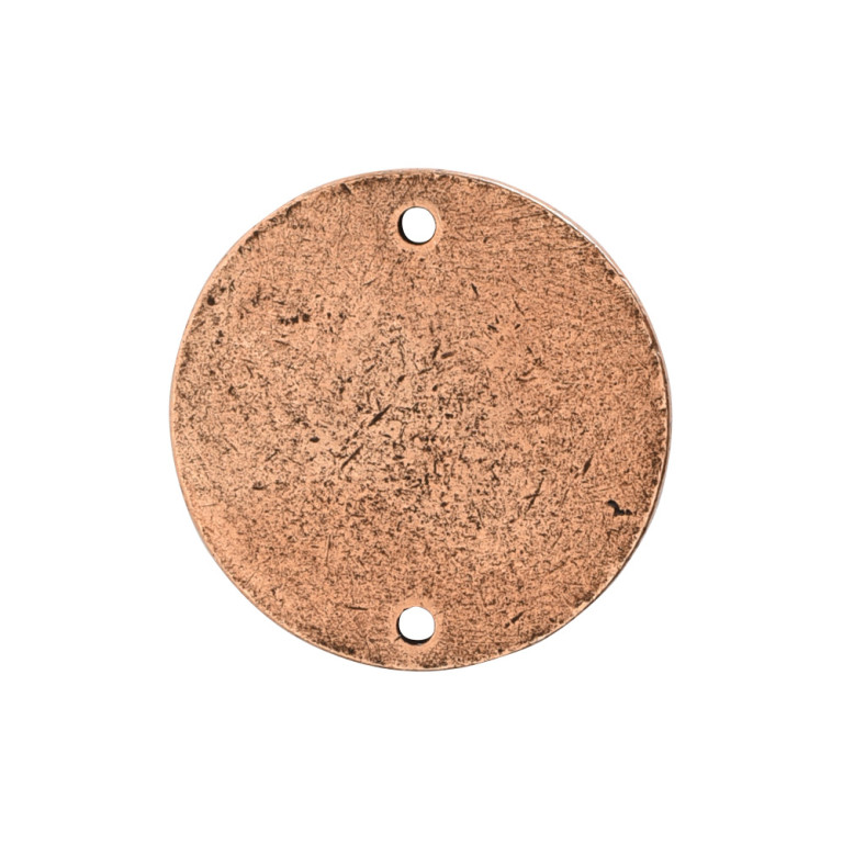 Flat Tag Small Circle Double Loop Antique Copper