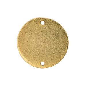 Flat Tag Small Circle Double Loop Antique Gold