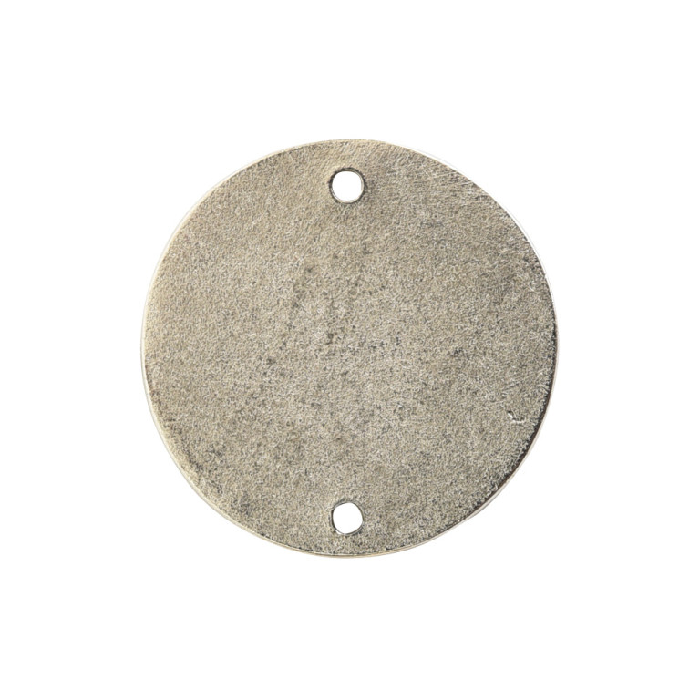 Flat Tag Small Circle Double Loop Antique Silver