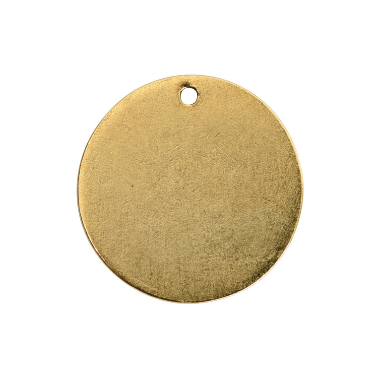 Flat Tag Small Circle Single Loop Antique Gold