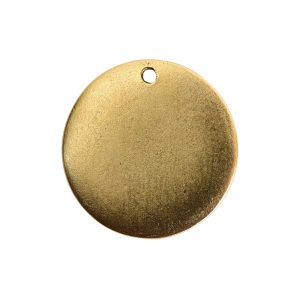 Flat Tag Small Circle Single Loop Antique Gold