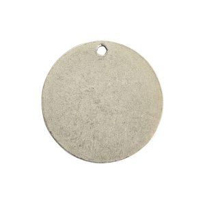 Flat Tag Small Circle Single Loop <br>Antique Silver