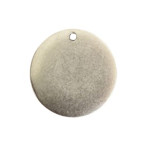 Flat Tag Small Circle Single Loop Antique Silver