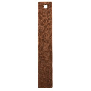 Hammered Flat Tag Long Narrow Single HoleAntique Copper
