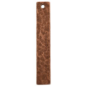 Hammered Flat Tag Long Narrow Single Hole<br>Antique Copper