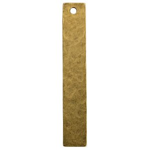 Hammered Flat Tag Long Narrow Single Hole<br>Antique Gold