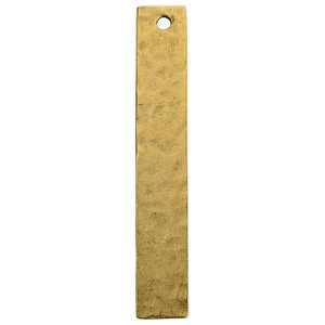 Hammered Flat Tag Long Narrow Single HoleAntique Gold