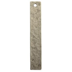 Hammered Flat Tag Long Narrow Single HoleAntique Silver