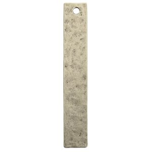 Hammered Flat Tag Long Narrow Single Hole<br>Antique Silver