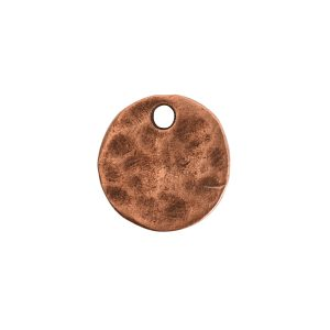 Hammered Flat Tag Mini Circle Single LoopAntique Copper