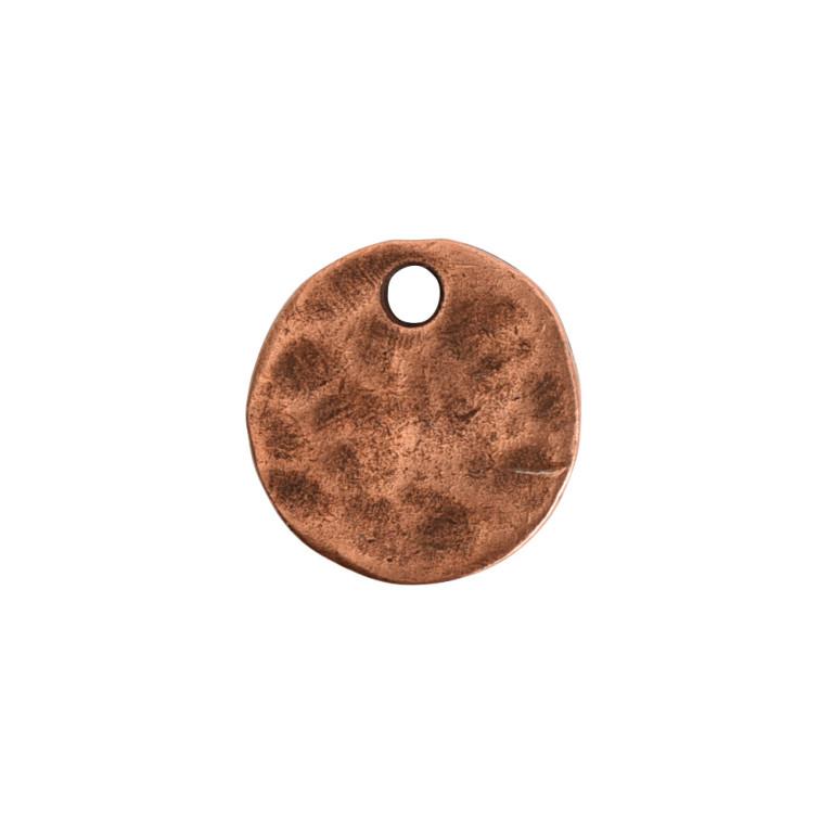 Hammered Flat Tag Mini Circle Single LoopAntique Copper