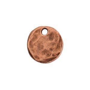 Hammered Flat Tag Mini Circle Single Loop<br>Antique Copper
